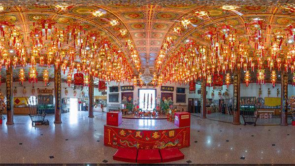 Thien Hau Temple interior, Los Angeles, California.